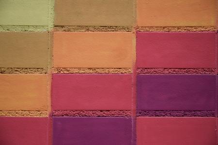 멀티 컬러 벽돌을 그렸습니다. 스톡 콘텐츠