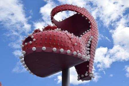 라스베가스에 빨간 구두 공공 예술. 스톡 콘텐츠