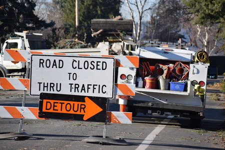 road closed: Road closed sign for traffic. Stock Photo
