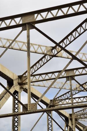 stell: Bridge members of old iron bridge. Stock Photo