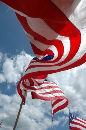 바람에 미국 국기입니다. 스톡 콘텐츠 - 50486234