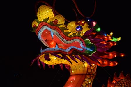중국 랜턴 축제에서 드래곤 랜 턴 머리입니다. 스톡 콘텐츠 - 93779019