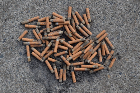Tossed Cigarette Butts. 스톡 콘텐츠