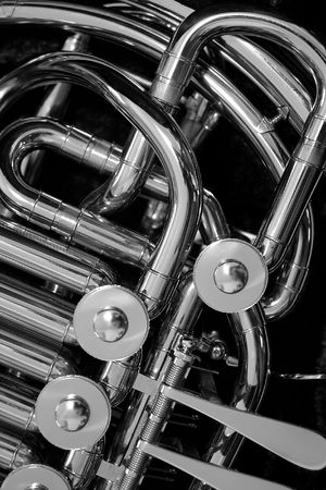 french horn: French Horn Detail Stock Photo