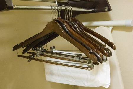 hotel: Clothes Hangers in a Hotel Room