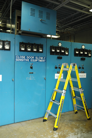 switchgear: Industrial Substation in Blue                             Stock Photo