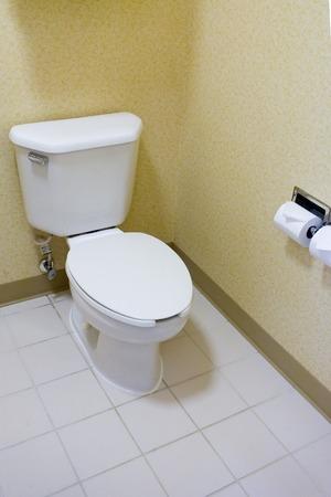 privy: Toilet in a Hotel Bathroom Stock Photo