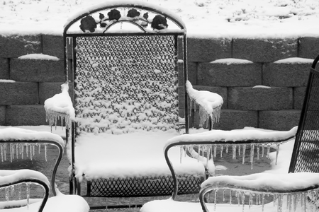 patio chairs: Ice Covered Patio Chairs