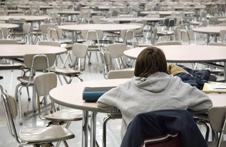 Study Time In A Deserted Cafeteria Foto de archivo