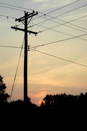 Power Pole at Sunset Фото со стока