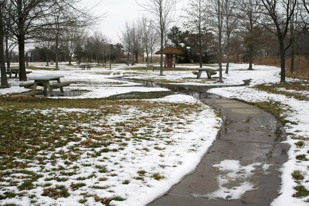 Rest area with melting snow Imagens