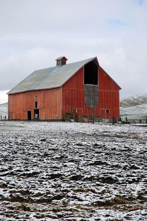 palouse: Old Red Barn on a Snowy Day on the Palouse