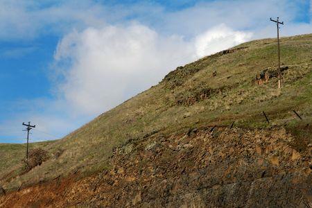 Powerlines across a mountain range