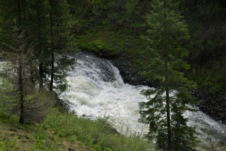 turbulent: Elk Creek Falls, Northern Idaho, USA Stock Photo