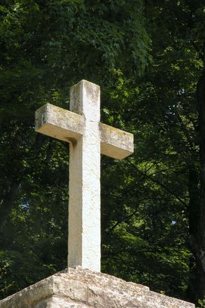 Cross Statue, with green background