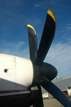 Propeller on a commuter airplane