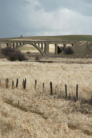 palouse: An old bridge and winter fields, in the Palouse region of southeastern Washington State Stock Photo