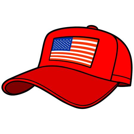 Baseball Cap with US Flag Stock Vector - 57052588