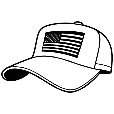 Baseball Cap illustration with US Flag Illustration