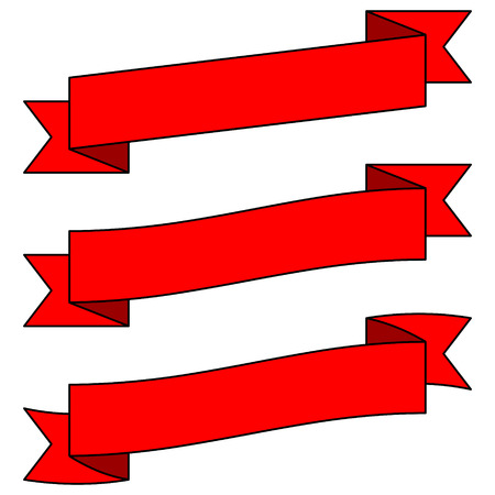 Adjustable Red Ribbon Banners - Banners are in separate grouped sections so they can be quickly re-positioned