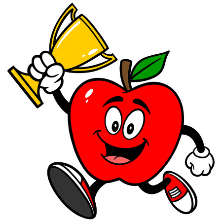 jogging in nature: Apple Running with Trophy