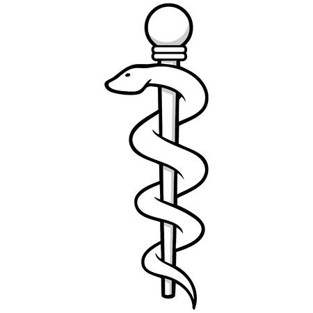 esculapio: Asclepio insignias Vectores