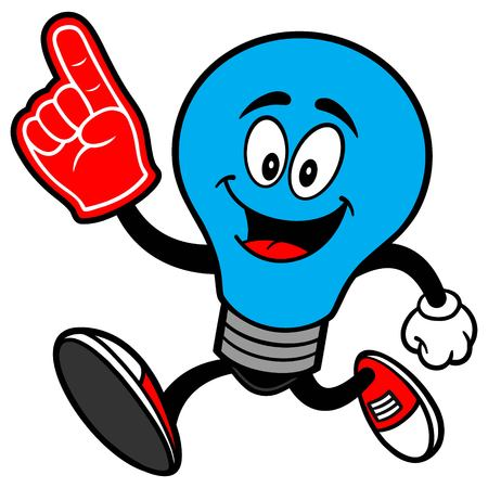 Autism Bulb Running with a Foam Finger Stock Illustratie