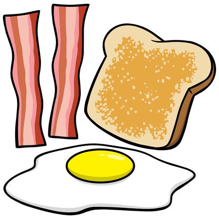 ベーコン卵とトースト  イラスト・ベクター素材