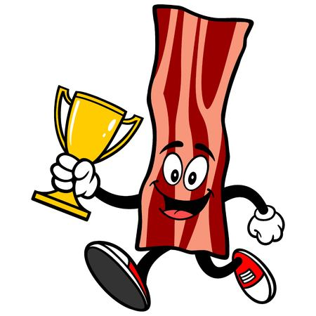 bacon: Bacon Strip Running with a Trophy