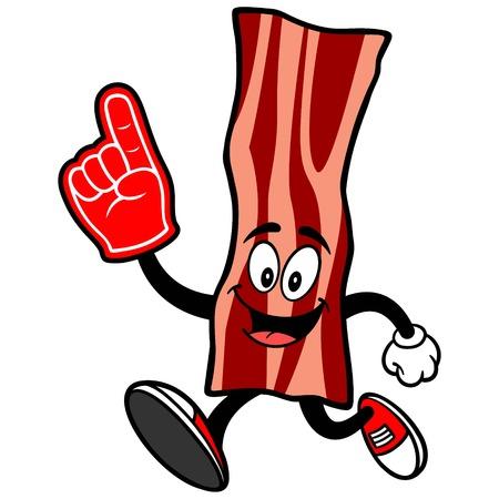 spectator: Bacon Strip Running with a Foam Finger Illustration