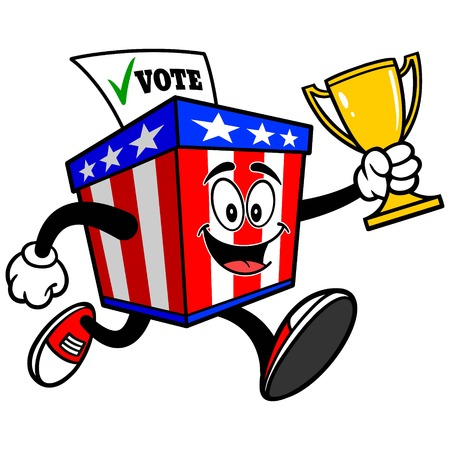 elect: Ballot Box Mascot Running with Trophy