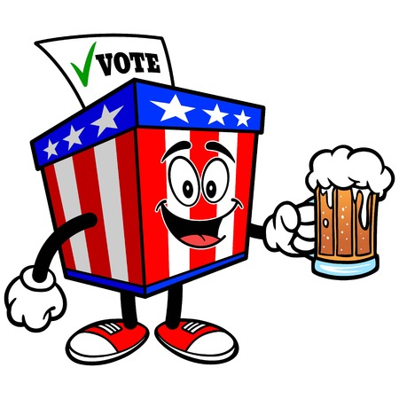secrecy of voting: Ballot Box Mascot with Beer Illustration