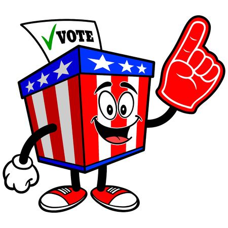 secrecy of voting: Ballot Box Mascot with Foam Finger