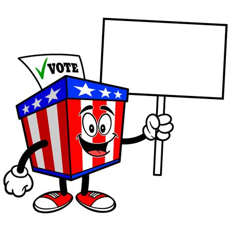secrecy of voting: Ballot Box Mascot with Sign