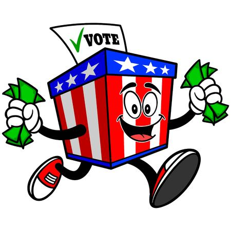 secrecy of voting: Ballot Box Mascot with Money