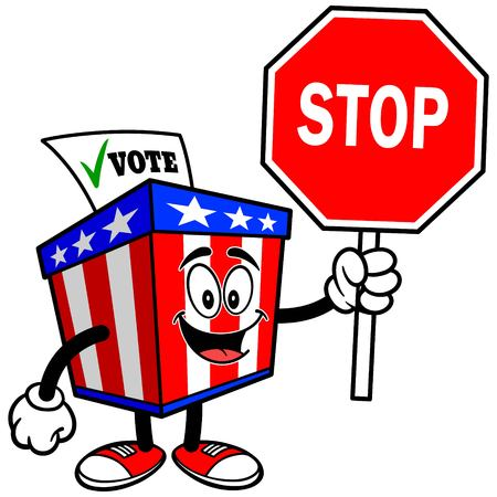 secrecy of voting: Ballot Box Mascot with Stop Sign Illustration