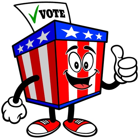 secrecy of voting: Ballot Box Mascot with Thumbs Up