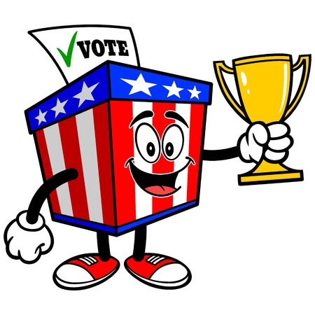 secrecy of voting: Ballot Box Mascot with Trophy
