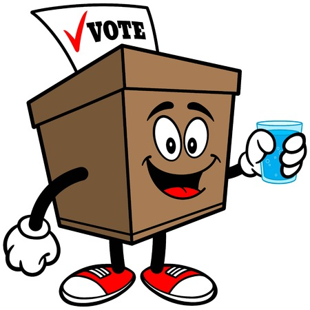 secrecy of voting: Ballot Box Mascot with Water Illustration