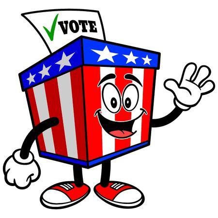 secrecy of voting: Ballot Box Mascot Waving Illustration