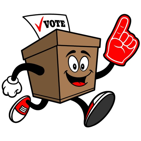 secrecy of voting: Ballot Box Running with Foam Finger