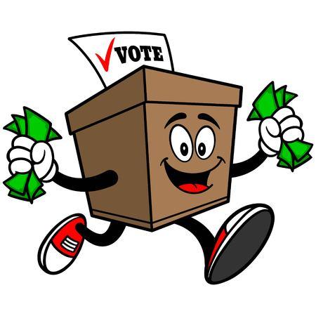 secrecy of voting: Ballot Box with Money Illustration