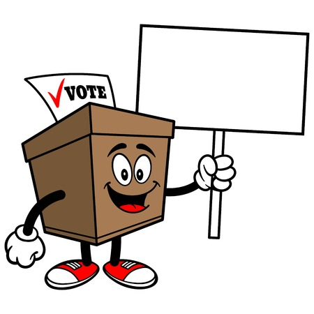 secrecy of voting: Ballot Box with Sign