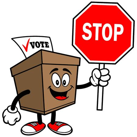 secrecy of voting: Ballot Box with Stop Sign