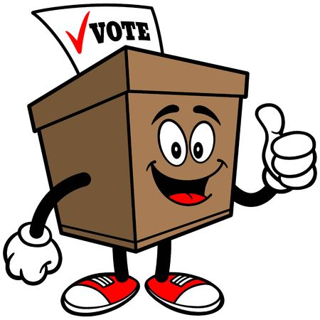 secrecy of voting: Ballot Box with Thumbs Up Illustration