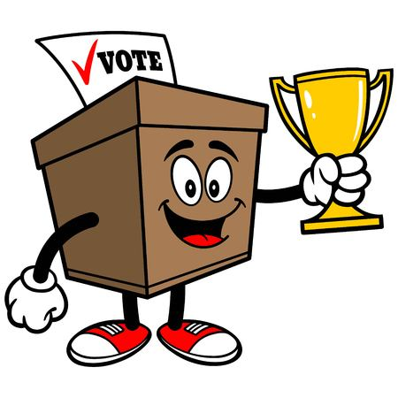 secrecy of voting: Ballot Box with Trophy