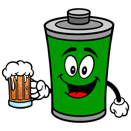 Battery with Beer Illustration