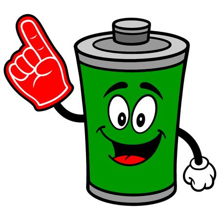 Battery with Foam Finger 向量圖像