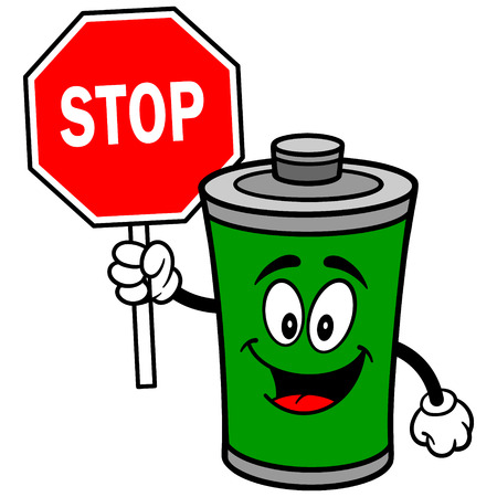 Battery with Stop Sign