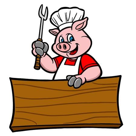cerdo caricatura: Cerdo barbacoa con la muestra